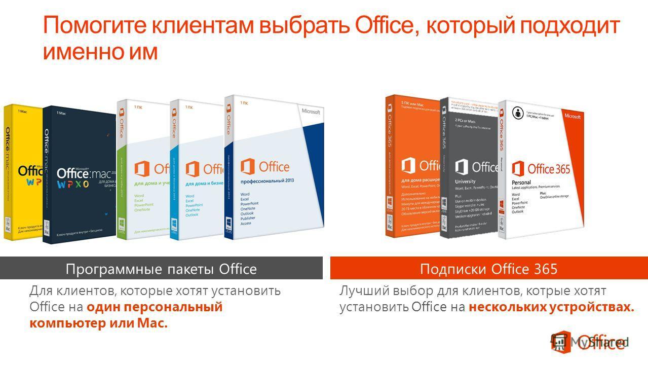 Помогите клиентам выбрать Office, который подходит именно им Лучший выбор для клиентов, котрые хотят установить Office на нескольких устройствах. Для клиентов, которые хотят установить Office на один персональный компьютер или Mac.