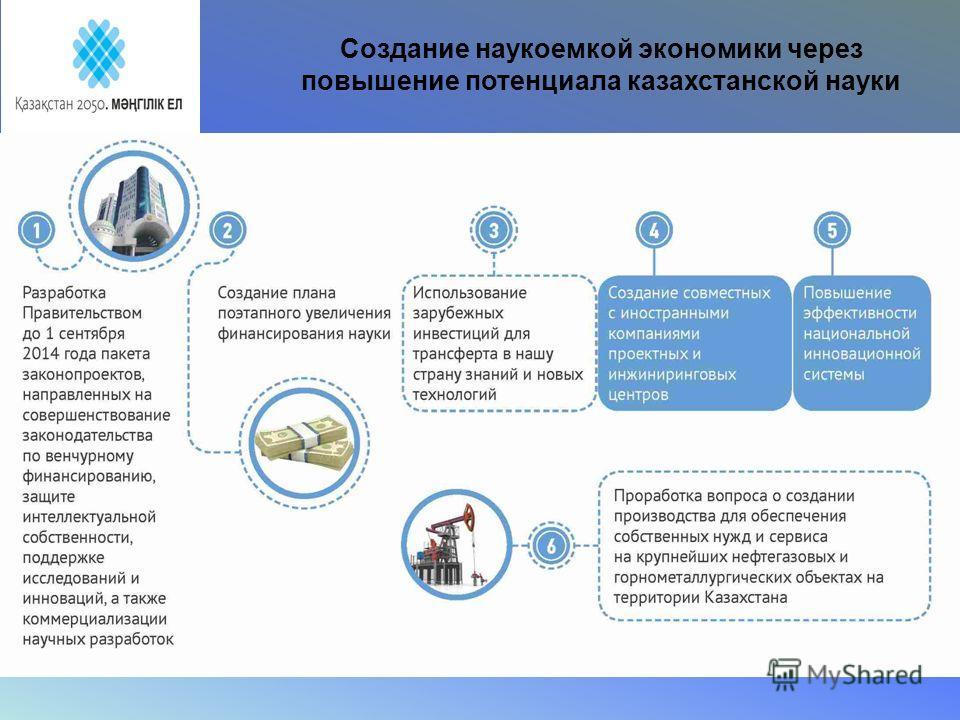 Создание наукоемкой экономики через повышение потенциала казахстанской науки