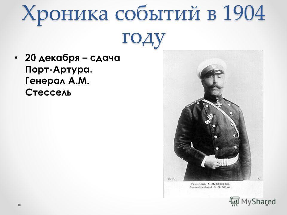 Хроника событий в 1904 году 20 декабря – сдача Порт-Артура. Генерал А.М. Стессель