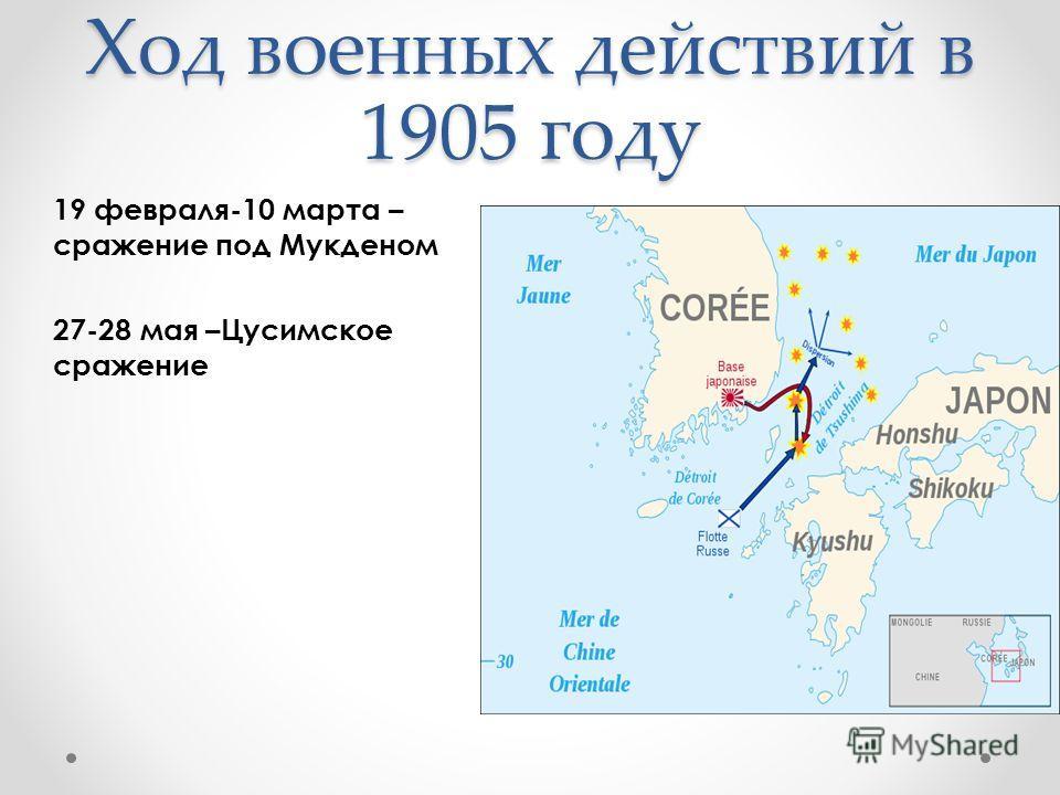 Ход военных действий в 1905 году 19 февраля-10 марта – сражение под Мукденом 27-28 мая –Цусимское сражение