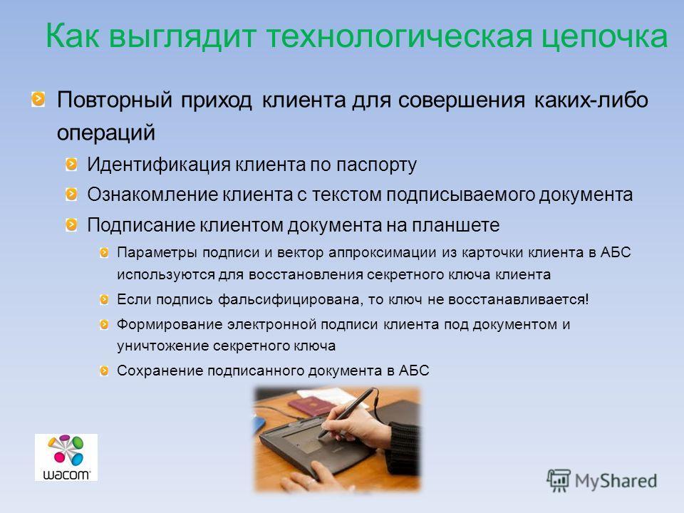 Как выглядит технологическая цепочка Повторный приход клиента для совершения каких-либо операций Идентификация клиента по паспорту Ознакомление клиента с текстом подписываемого документа Подписание клиентом документа на планшете Параметры подписи и в