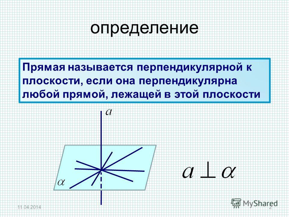 Прямая называется перпендикулярной к плоскости, если она перпендикулярна любой прямой, лежащей в этой плоскости 11.04.20142 определение
