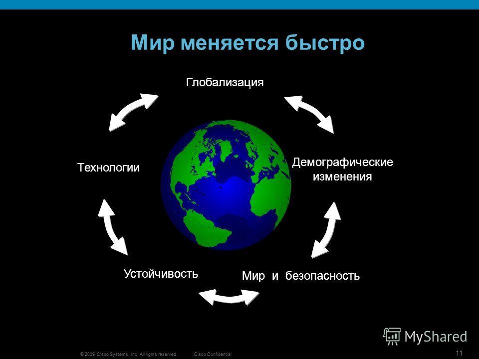 © 2009 Cisco Systems, Inc. All rights reserved.Cisco Confidential 11 Мир меняется быстро Глобализация Устойчивость Технологии Демографические изменения Мир и безопасность
