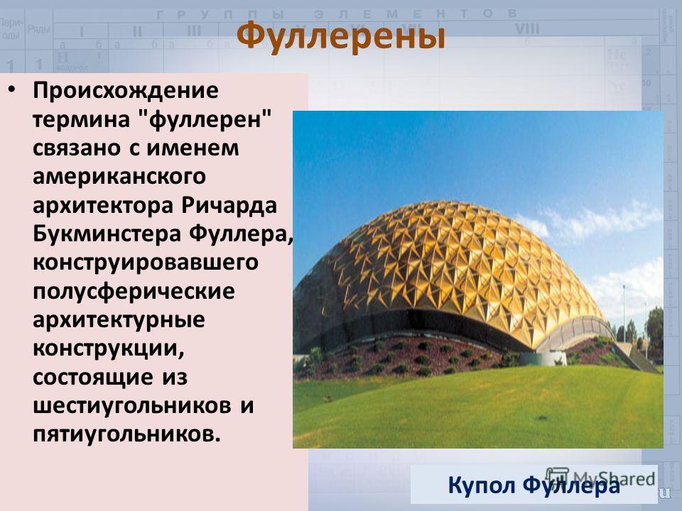 Фуллерены Происхождение термина фуллерен связано с именем американского архитектора Ричарда Букминстера Фуллера, конструировавшего полусферические архитектурные конструкции, состоящие из шестиугольников и пятиугольников. Купол Фуллера
