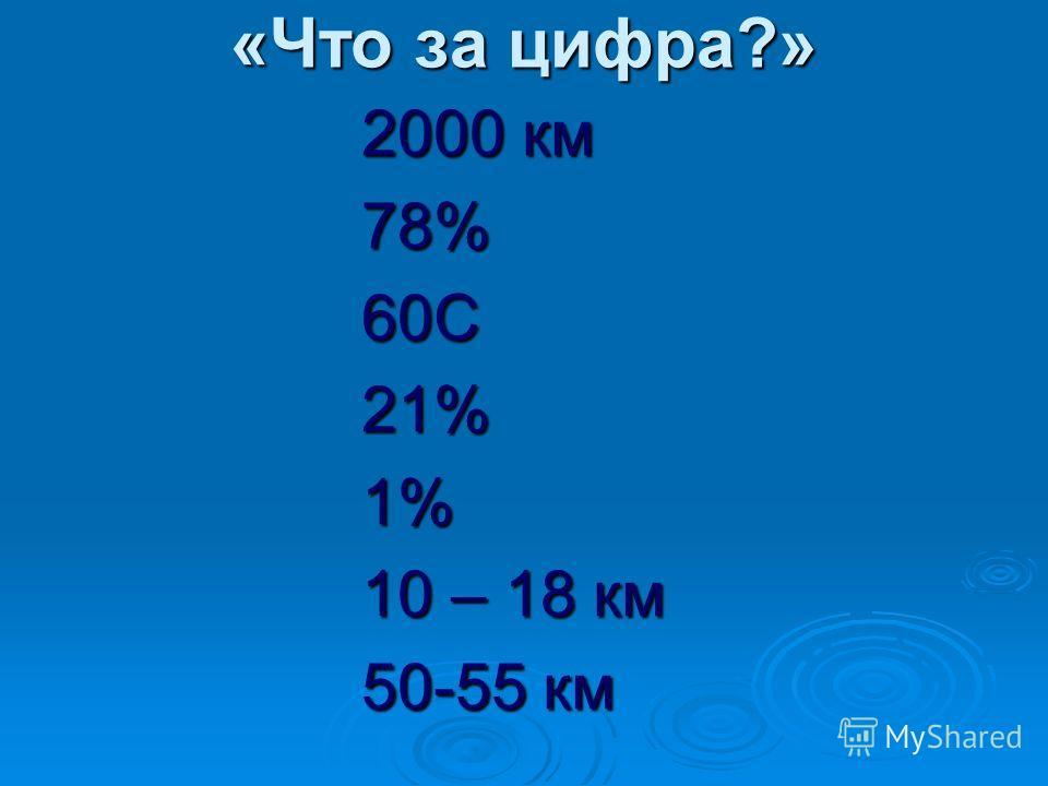«Что за цифра?» 2000 км 78%60С21%1% 10 – 18 км 50-55 км