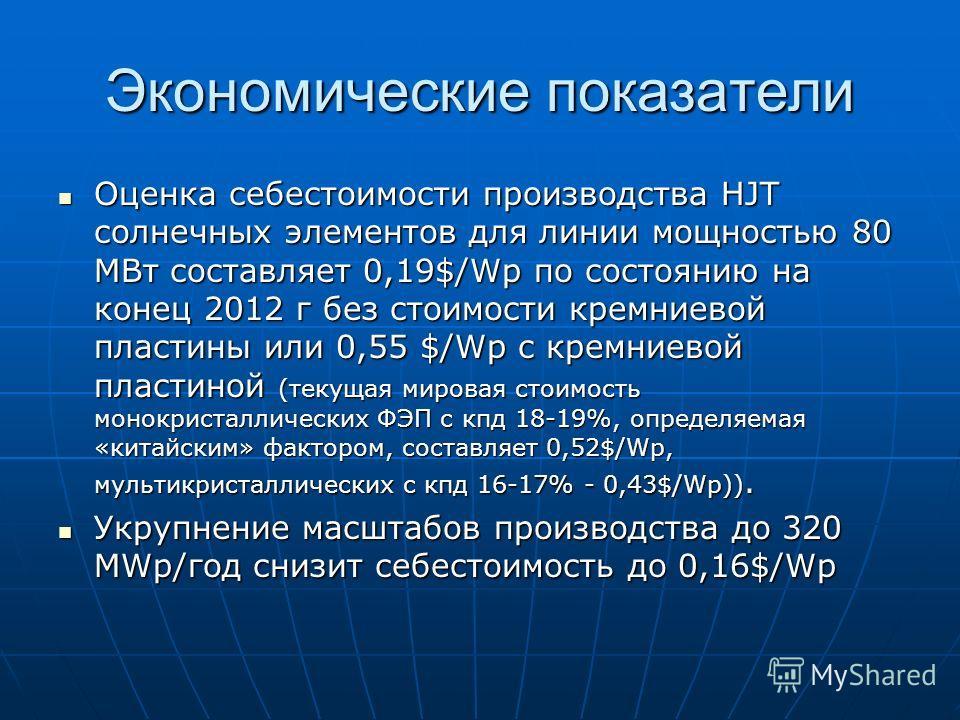 Экономические показатели Оценка себестоимости производства HJT солнечных элементов для линии мощностью 80 МВт составляет 0,19$/Wp по состоянию на конец 2012 г без стоимости кремниевой пластины или 0,55 $/Wp c кремниевой пластиной (текущая мировая сто