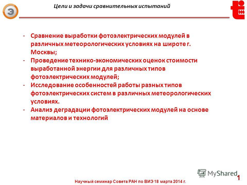 -Сравнение выработки фотоэлектрических модулей в различных метеорологических условиях на широте г. Москвы; -Проведение технико-экономических оценок стоимости выработанной энергии для различных типов фотоэлектрических модулей; -Исследование особенност