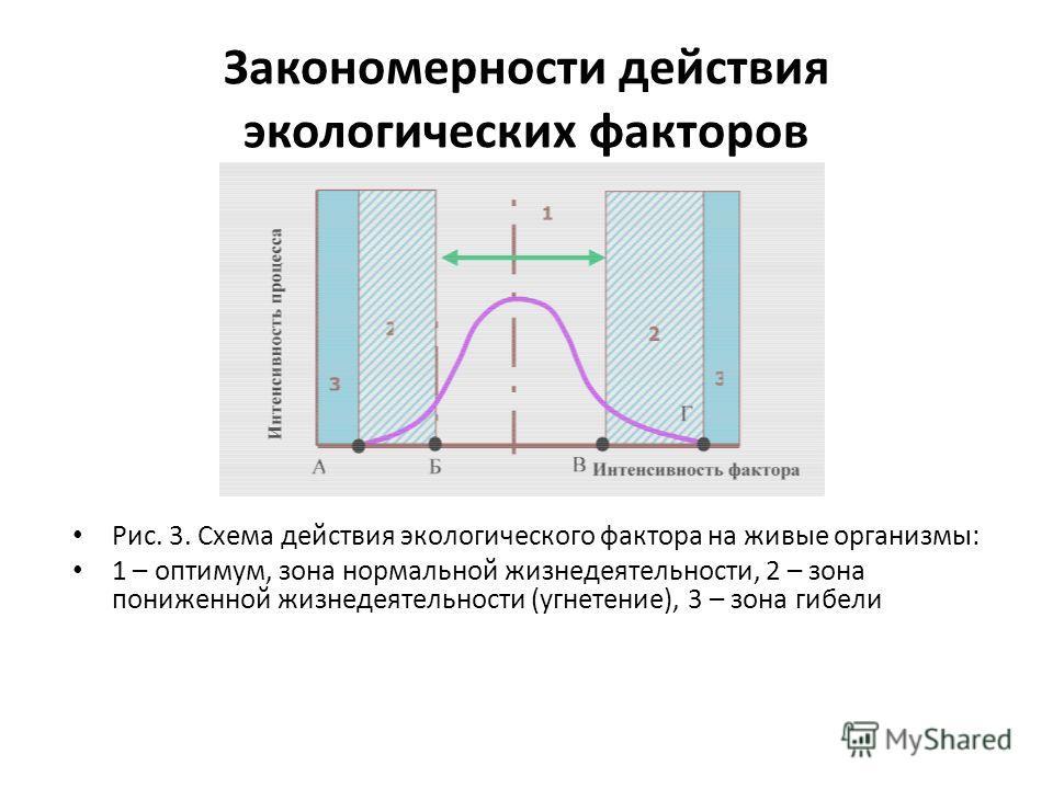 Закономерности действия экологических факторов Рис. 3. Схема действия экологического фактора на живые организмы: 1 – оптимум, зона нормальной жизнедеятельности, 2 – зона пониженной жизнедеятельности (угнетение), 3 – зона гибели