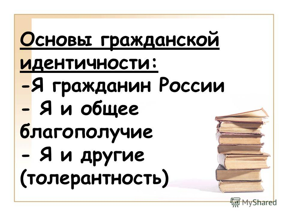 Основы гражданской идентичности: -Я гражданин России - Я и общее благополучие - Я и другие (толерантность)