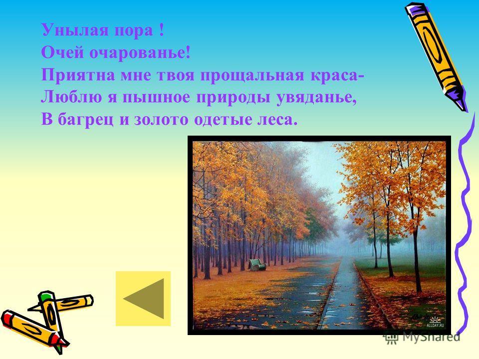 Унылая пора ! Очей очарованье! Приятна мне твоя прощальная краса- Люблю я пышное природы увяданье, В багрец и золото одетые леса.