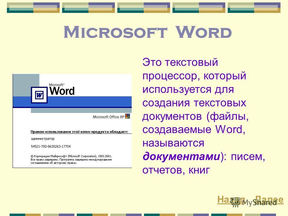 Microsoft Word Это текстовый процессор, который используется для создания текстовых документов (файлы, создаваемые Word, называются документами): писем, отчетов, книг ДалееНазад