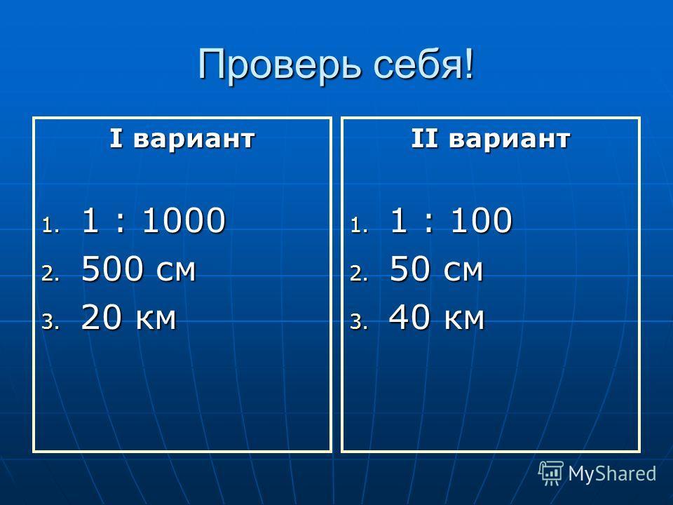 Проверь себя! I вариант 1. 1 : 1000 2. 500 см 3. 20 км II вариант 1. 1 : 100 2. 50 см 3. 40 км