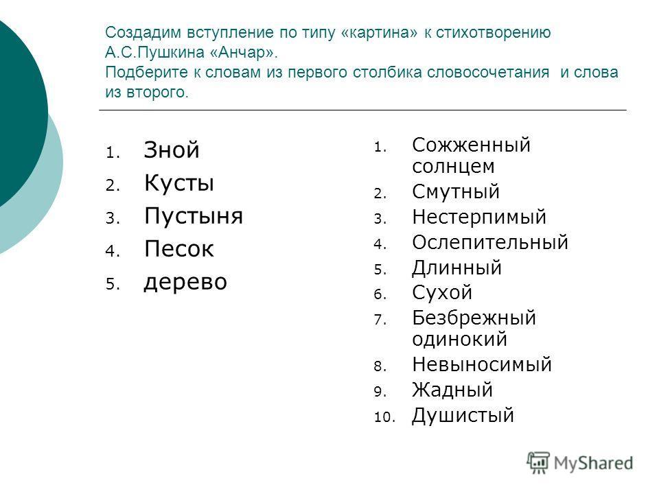 Создадим вступление по типу «картина» к стихотворению А.С.Пушкина «Анчар». Подберите к словам из первого столбика словосочетания и слова из второго. 1. Зной 2. Кусты 3. Пустыня 4. Песок 5. дерево 1. Сожженный солнцем 2. Смутный 3. Нестерпимый 4. Осле