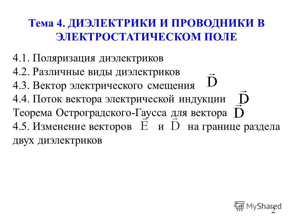Тема 4. ДИЭЛЕКТРИКИ И ПРОВОДНИКИ В ЭЛЕКТРОСТАТИЧЕСКОМ ПОЛЕ 2 4.1. Поляризация диэлектриков 4.2. Различные виды диэлектриков 4.3. Вектор электрического смещения 4.4. Поток вектора электрической индукции. Теорема Остроградского-Гаусса для вектора 4.5.
