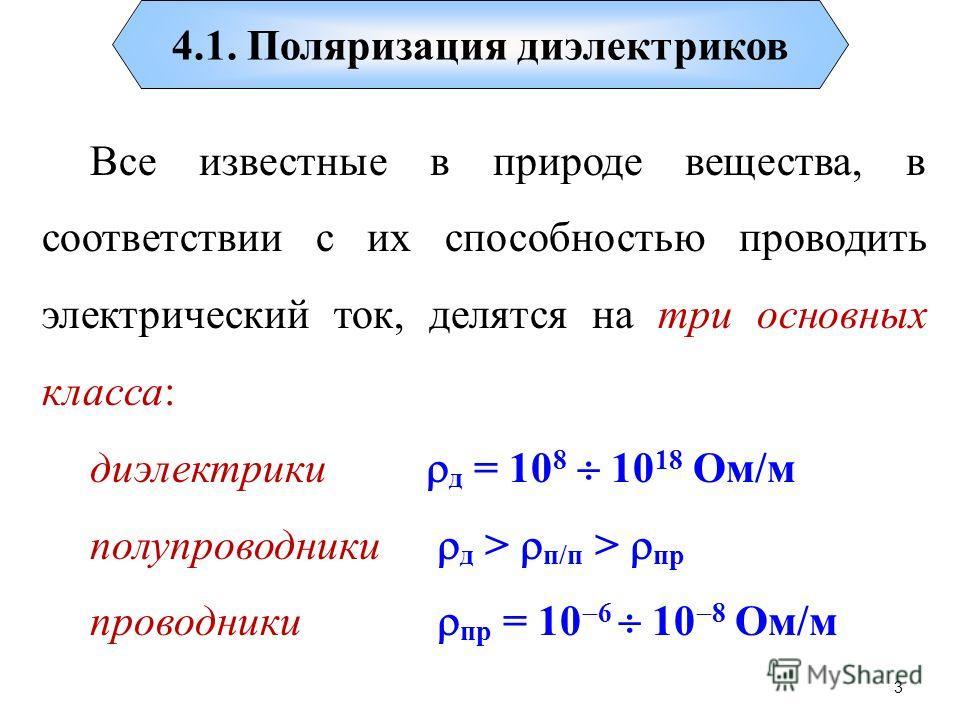 3 4.1. Поляризация диэлектриков Все известные в природе вещества, в соответствии с их способностью проводить электрический ток, делятся на три основных класса: диэлектрики д = 10 8 10 18 Ом/м полупроводники д > п/п > пр проводники пр = 10 6 10 8 Ом/м
