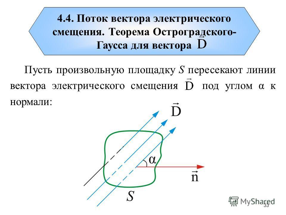 4.4. Поток вектора электрического смещения. Теорема Остроградского- Гаусса для вектора Пусть произвольную площадку S пересекают линии вектора электрического смещения под углом α к нормали: 33