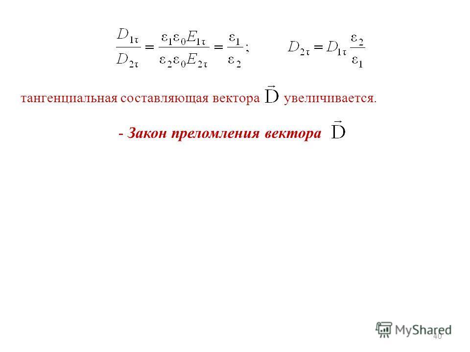 40 тангенциальная составляющая вектора увеличивается. - Закон преломления вектора