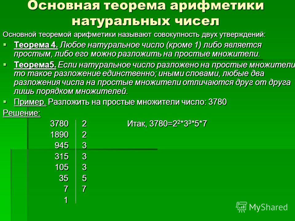 Основная теорема арифметики натуральных чисел Основной теоремой арифметики называют совокупность двух утверждений: Теорема 4. Любое натуральное число (кроме 1) либо является простым, либо его можно разложить на простые множители. Теорема 4. Любое нат