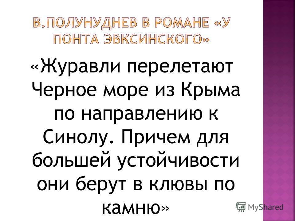 «Журавли перелетают Черное море из Крыма по направлению к Синолу. Причем для большей устойчивости они берут в клювы по камню»