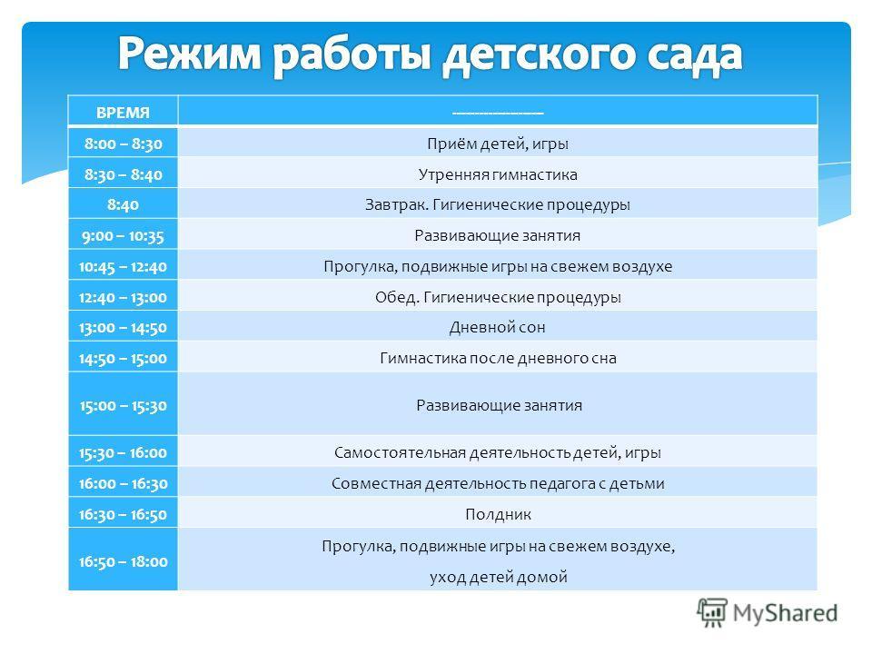 ВРЕМЯ--------------------- 8:00 – 8:30Приём детей, игры 8:30 – 8:40Утренняя гимнастика 8:40Завтрак. Гигиенические процедуры 9:00 – 10:35Развивающие занятия 10:45 – 12:40Прогулка, подвижные игры на свежем воздухе 12:40 – 13:00Обед. Гигиенические проце