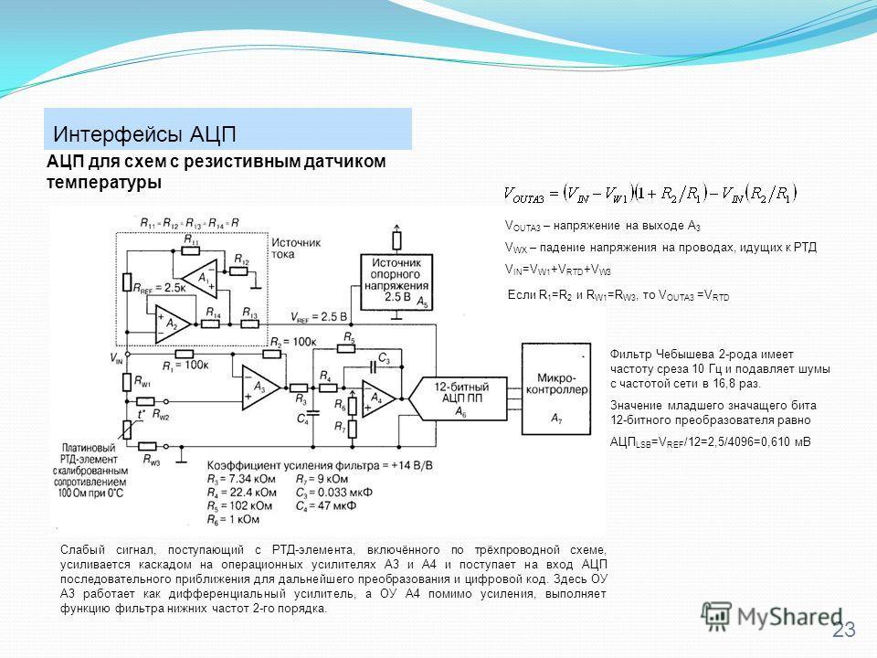 Интерфейсы АЦП 23 АЦП для схем с резистивным датчиком температуры Слабый сигнал, поступающий с РТД-элемента, включённого по трёхпроводной схеме, усиливается каскадом на операционных усилителях A3 и А4 и поступает на вход АЦП последовательного приближ