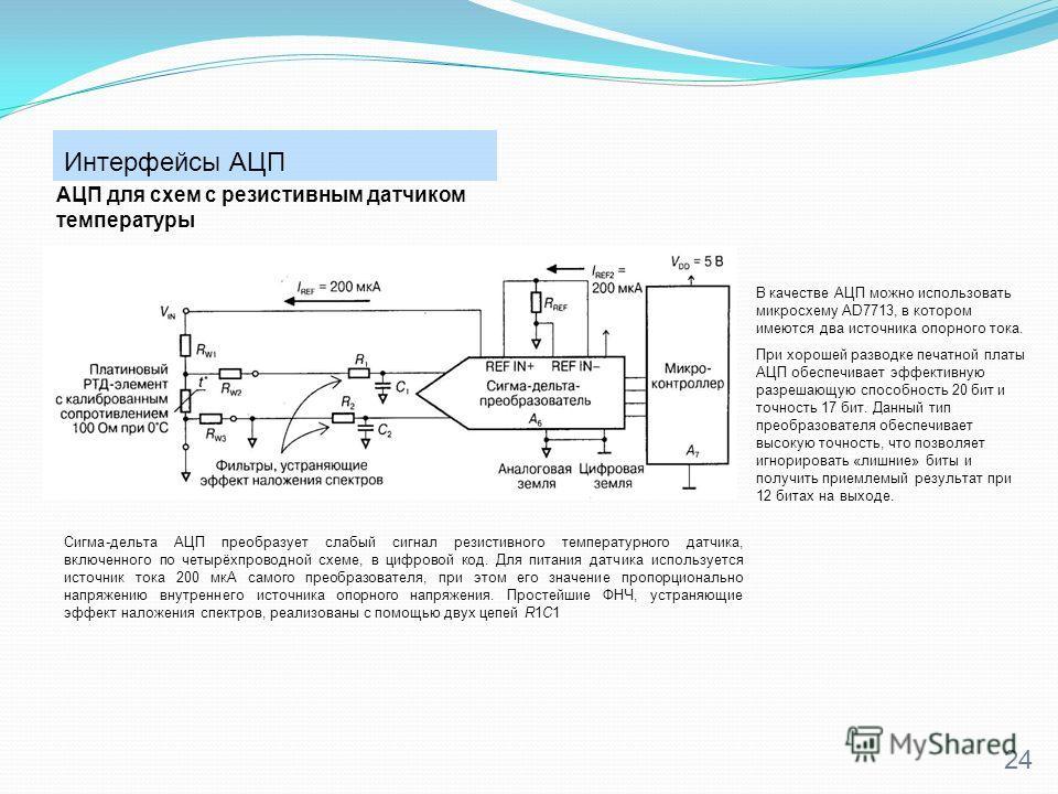 Интерфейсы АЦП 24 АЦП для схем с резистивным датчиком температуры Сигма-дельта АЦП преобразует слабый сигнал резистивного температурного датчика, включенного по четырёхпроводной схеме, в цифровой код. Для питания датчика используется источник тока 20