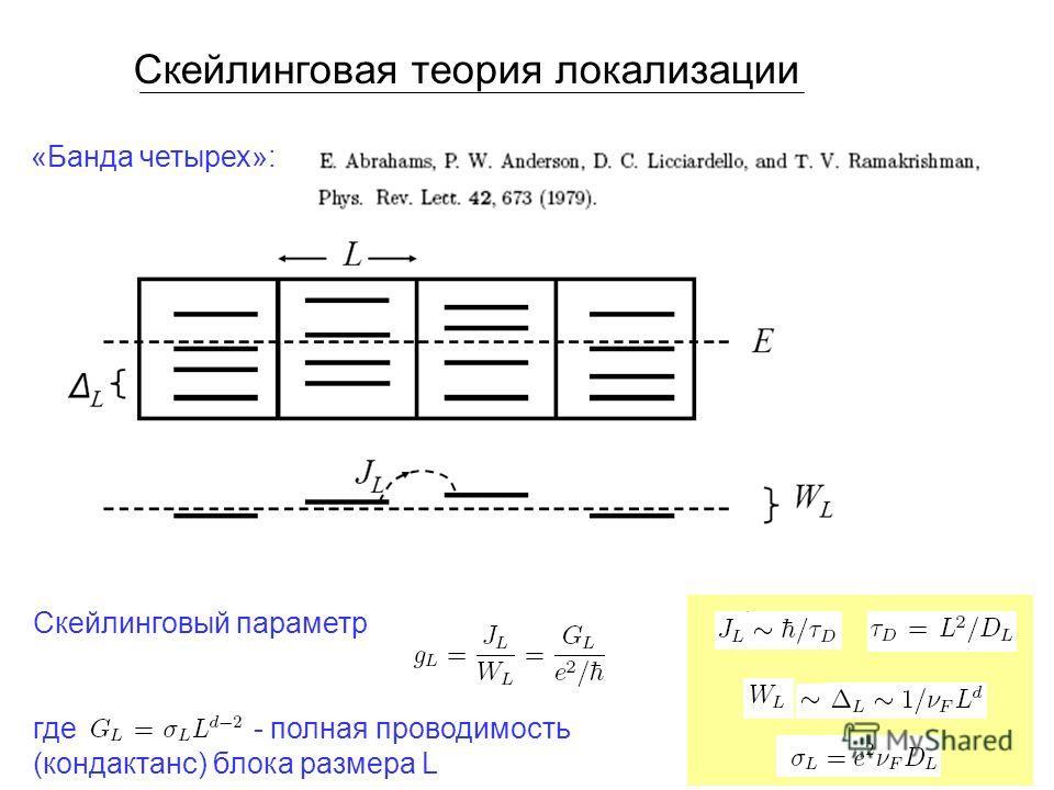 Скейлинговая теория локализации «Банда четырех»: Скейлинговый параметр где - полная проводимость (кондактанс) блока размера L