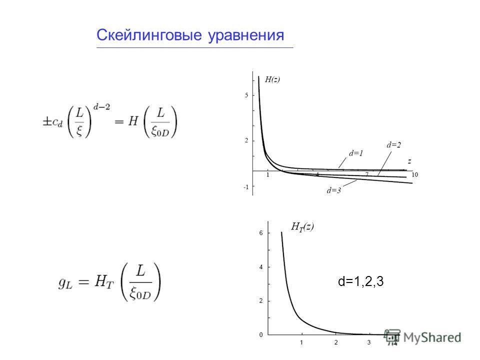 Скейлинговые уравнения d=1,2,3