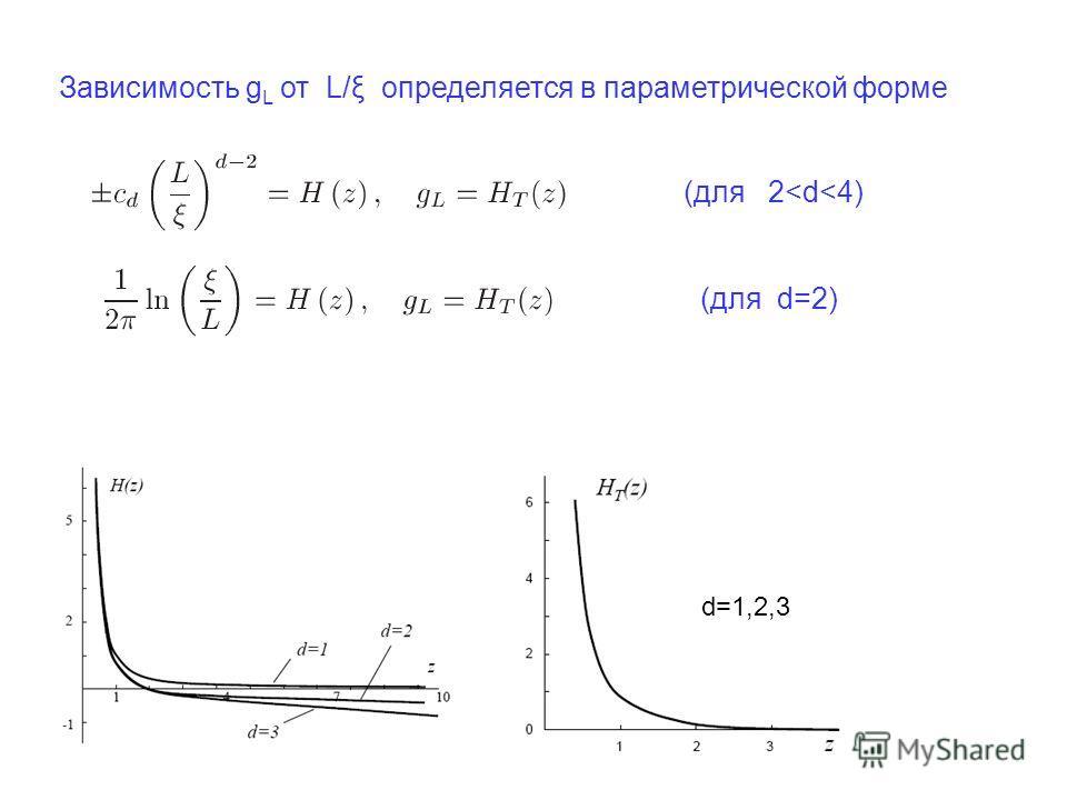 Зависимость g L от L/ξ определяется в параметрической форме (для 2