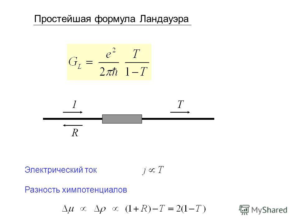 Простейшая формула Ландауэра Электрический ток Разность химпотенциалов