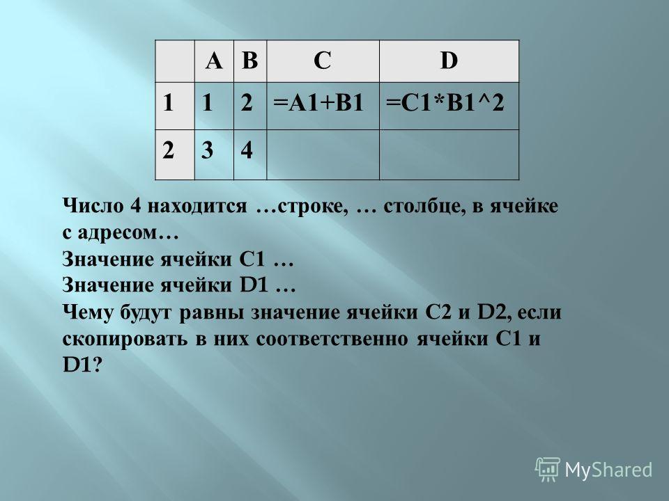 ABCD 112=A1+B1=C1*B1^2 234 Число 4 находится … строке, … столбце, в ячейке с адресом … Значение ячейки С 1 … Значение ячейки D1 … Чему будут равны значение ячейки С 2 и D2, если скопировать в них соответственно ячейки С 1 и D1?