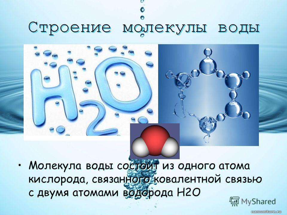 Строение молекулы воды Молекула воды состоит из одного атома кислорода, связанного ковалентной связью с двумя атомами водорода H2O