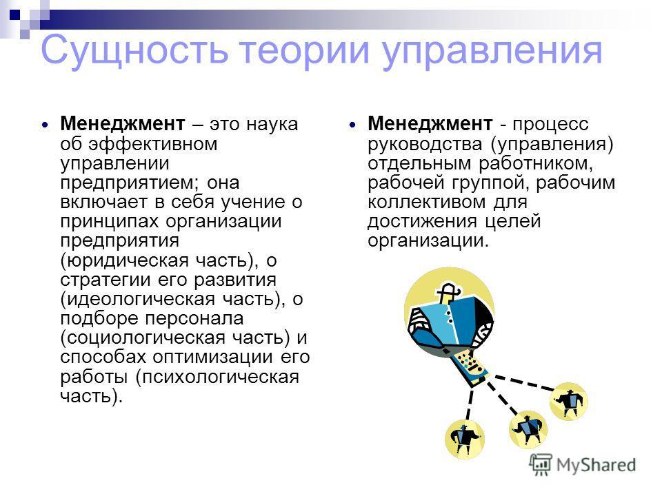 Сущность теории управления Менеджмент – это наука об эффективном управлении предприятием; она включает в себя учение о принципах организации предприятия (юридическая часть), о стратегии его развития (идеологическая часть), о подборе персонала (социол