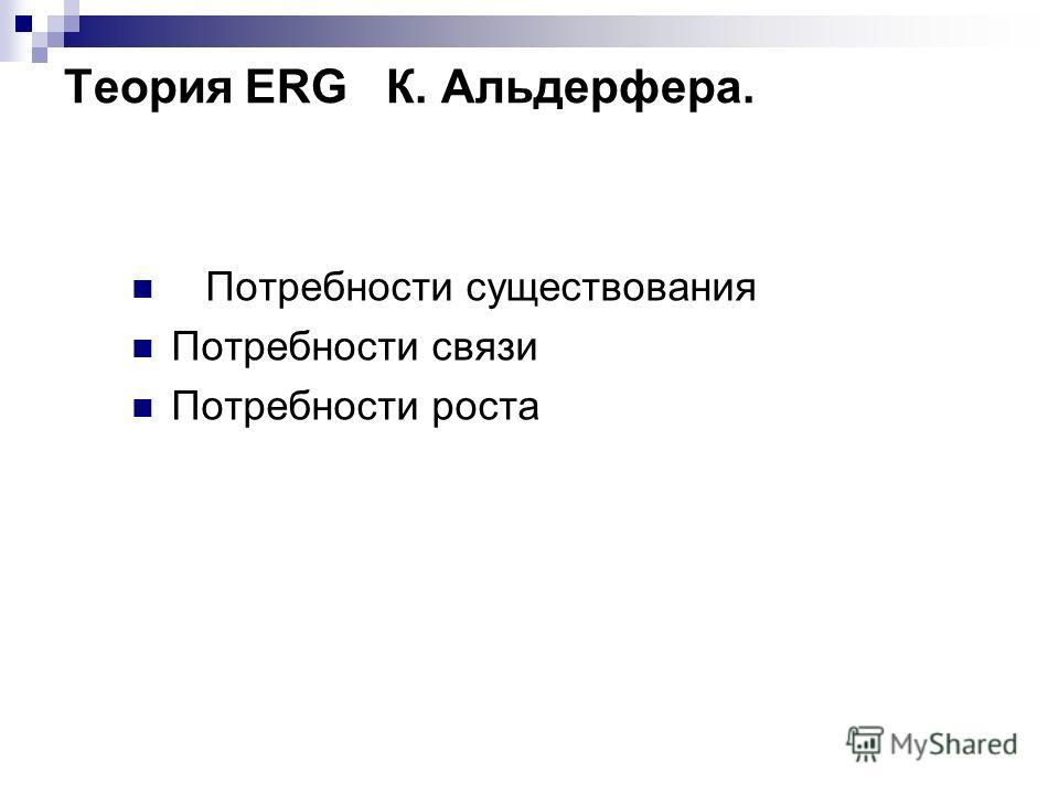 Теория ERG К. Альдерфера. Потребности существования Потребности связи Потребности роста