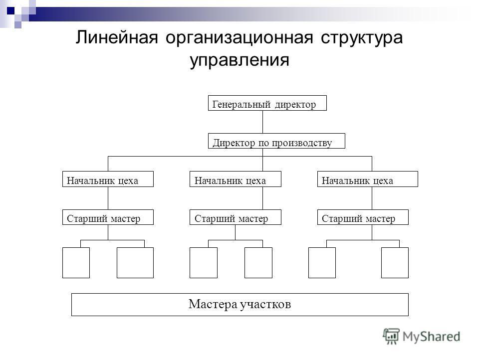 Линейная организационная структура управления Генеральный директор Директор по производству Начальник цеха Старший мастер Мастера участков
