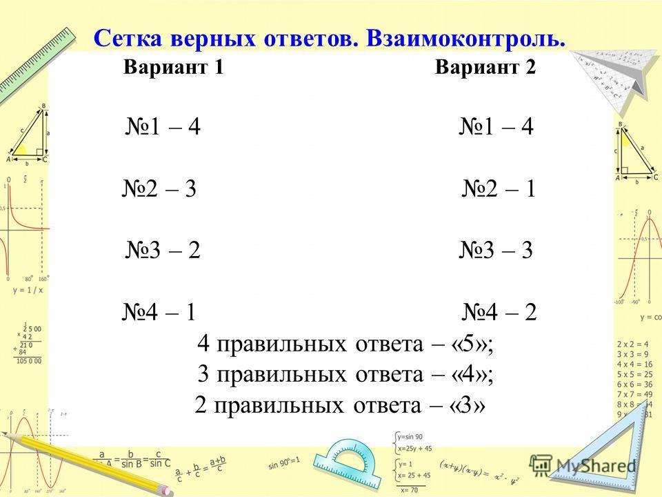 Сетка верных ответов. Взаимоконтроль. Вариант 1 Вариант 2 1 – 4 2 – 3 2 – 1 3 – 2 3 – 3 4 – 1 4 – 2 4 правильных ответа – «5»; 3 правильных ответа – «4»; 2 правильных ответа – «3»