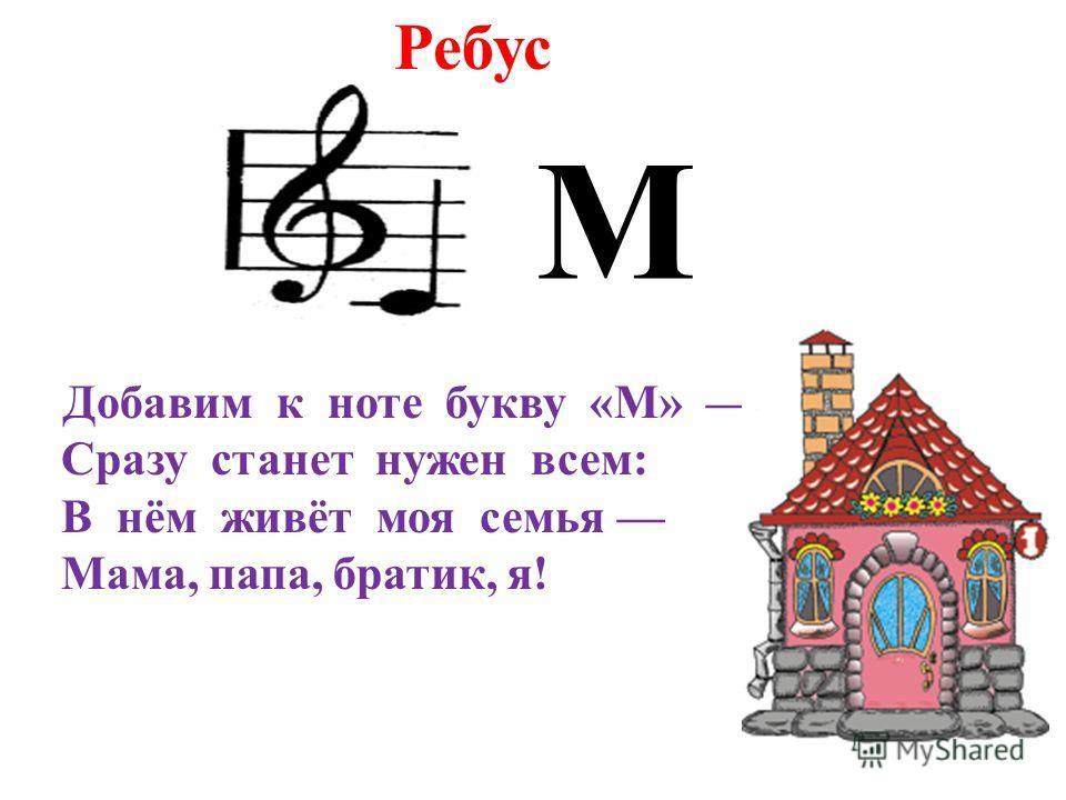 М Добавим к ноте букву «М» Сразу станет нужен всем: В нём живёт моя семья Мама, папа, братик, я! Ребус