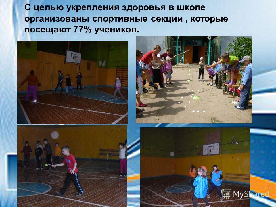 С целью укрепления здоровья в школе организованы спортивные секции, которые посещают 77% учеников.