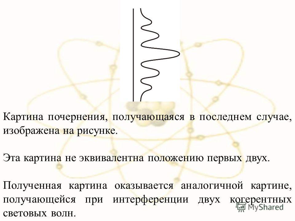 Картина почернения, получающаяся в последнем случае, изображена на рисунке. Эта картина не эквивалентна положению первых двух. Полученная картина оказывается аналогичной картине, получающейся при интерференции двух когерентных световых волн.
