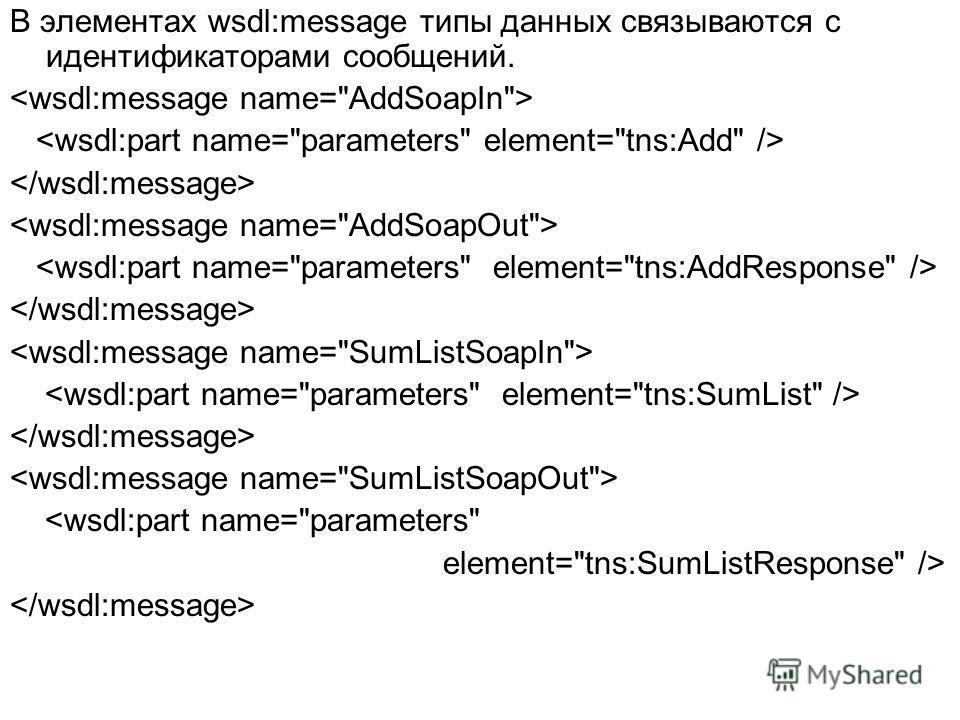 В элементах wsdl:message типы данных связываются с идентификаторами сообщений.