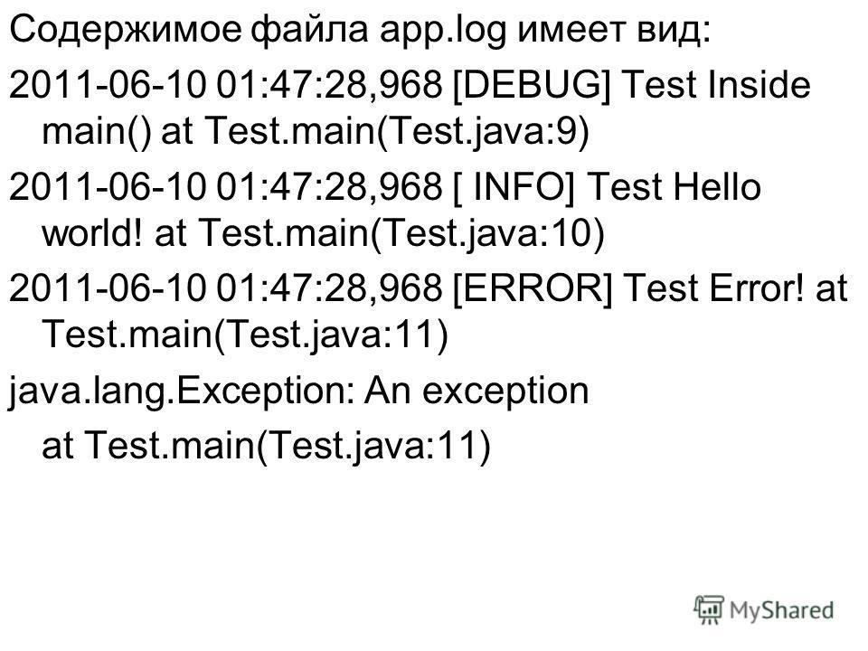 Содержимое файла app.log имеет вид: 2011-06-10 01:47:28,968 [DEBUG] Test Inside main() at Test.main(Test.java:9) 2011-06-10 01:47:28,968 [ INFO] Test Hello world! at Test.main(Test.java:10) 2011-06-10 01:47:28,968 [ERROR] Test Error! at Test.main(Tes