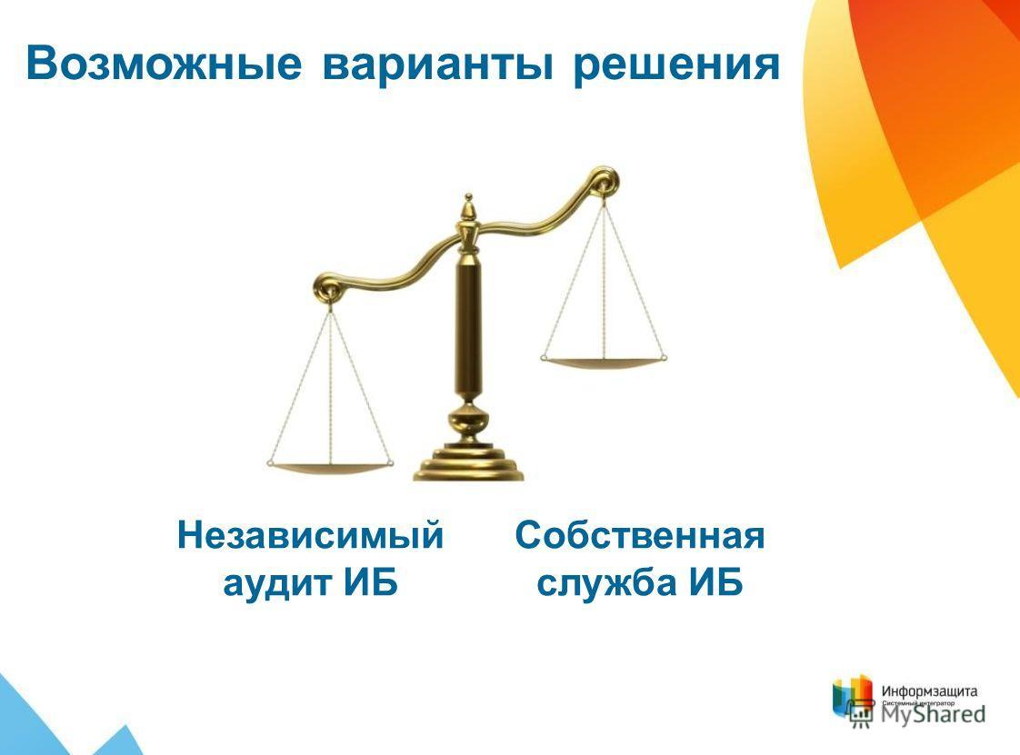 Собственная служба ИБ Возможные варианты решения Независимый аудит ИБ