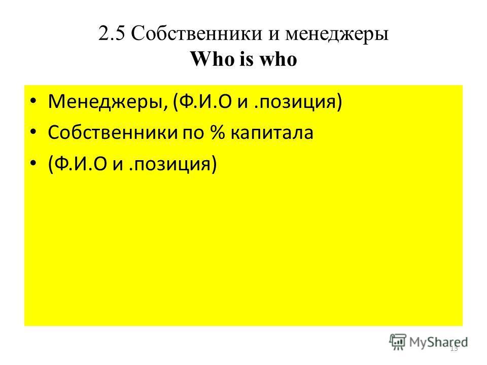 13 2.5 Собственники и менеджеры Who is who Менеджеры, (Ф.И.О и.позиция) Собственники по % капитала (Ф.И.О и.позиция)