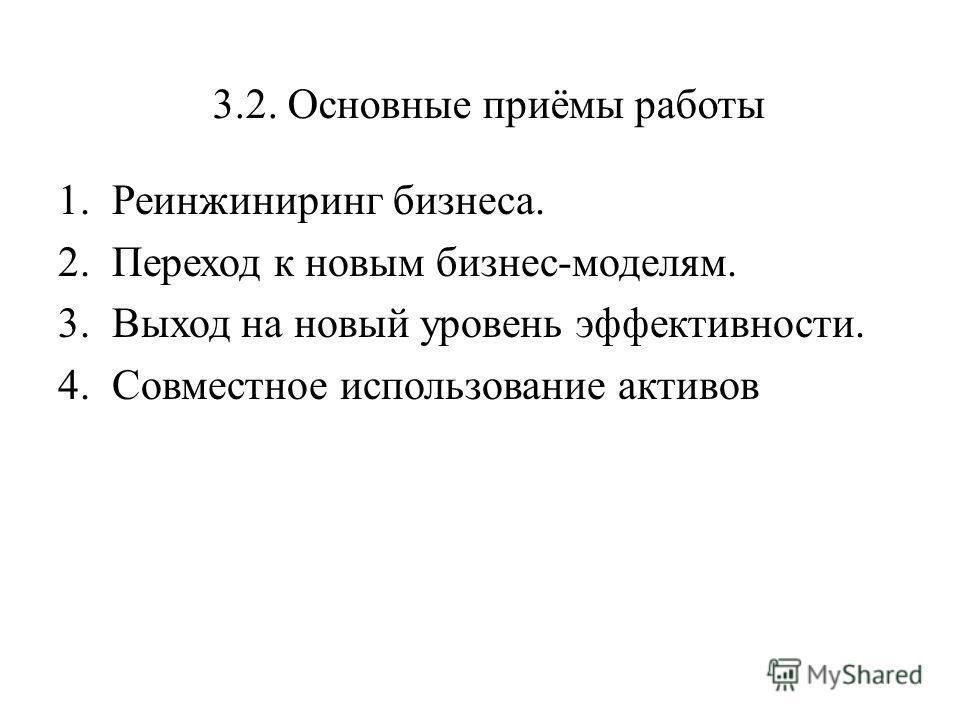 3.2. Основные приёмы работы 1.Реинжиниринг бизнеса. 2.Переход к новым бизнес-моделям. 3.Выход на новый уровень эффективности. 4.Совместное использование активов