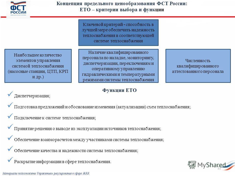 Концепция предельного ценообразования ФСТ России: ЕТО – критерии выбора и функции Ключевой критерий - способность в лучшей мере обеспечить надежность теплоснабжения в соответствующей системе теплоснабжения Наибольшее количество элементов управления с