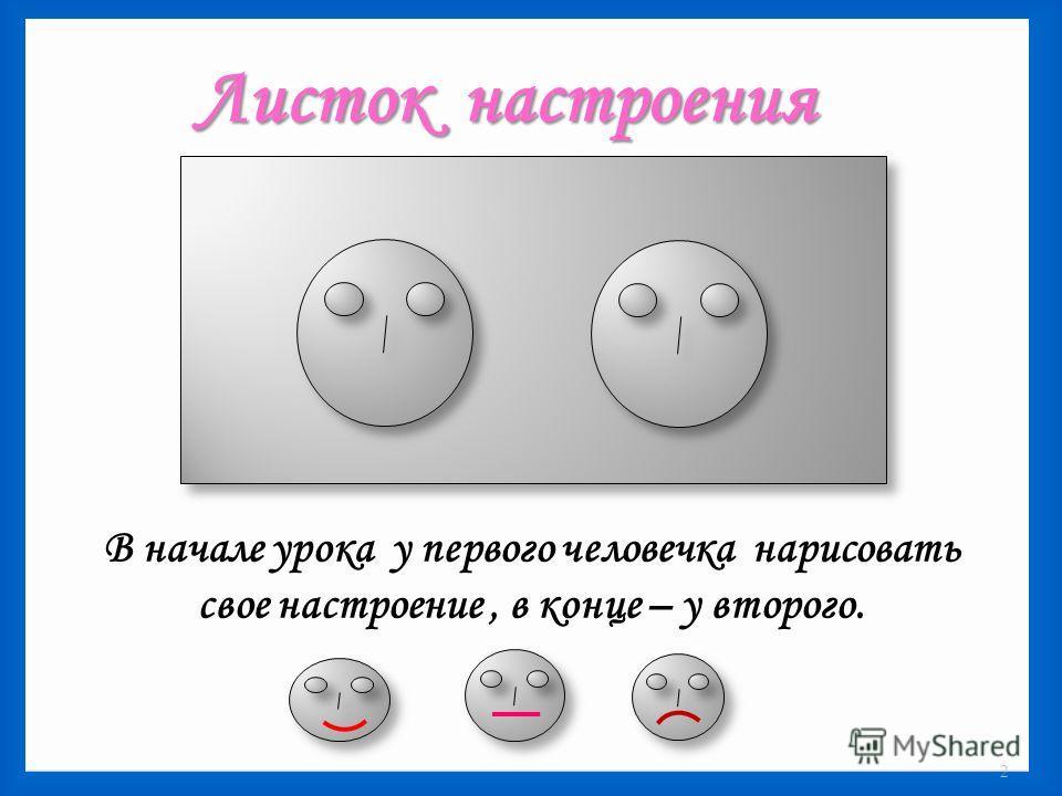 Листок настроения В начале урока у первого человечка нарисовать свое настроение, в конце – у второго. 2