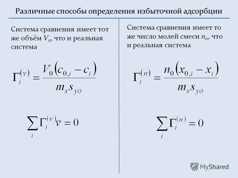 Различные способы определения избыточной адсорбции Система сравнения имеет тот же объём V 0, что и реальная система Система сравнения имеет то же число молей смеси n 0, что и реальная система