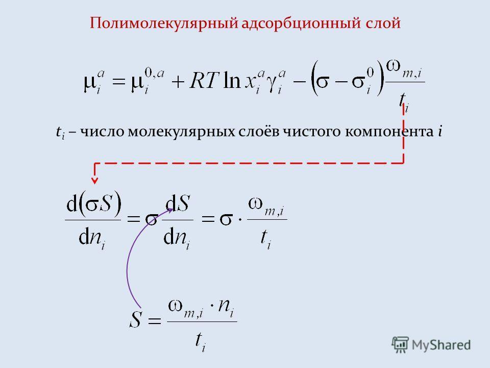 Полимолекулярный адсорбционный слой t i – число молекулярных слоёв чистого компонента i