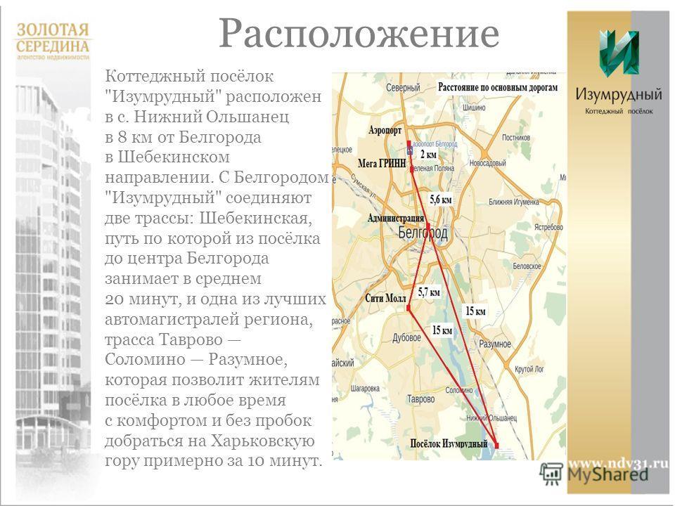 Расположение Коттеджный посёлок