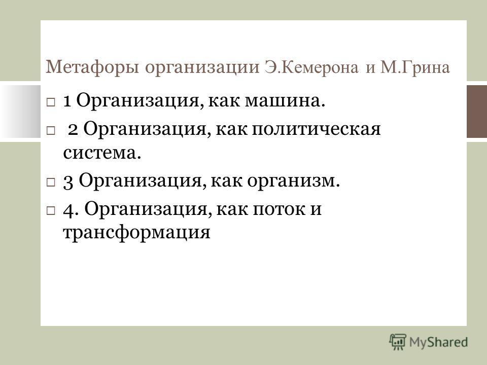 Метафоры организации Э.Кемерона и М.Грина 1 Организация, как машина. 2 Организация, как политическая система. 3 Организация, как организм. 4. Организация, как поток и трансформация